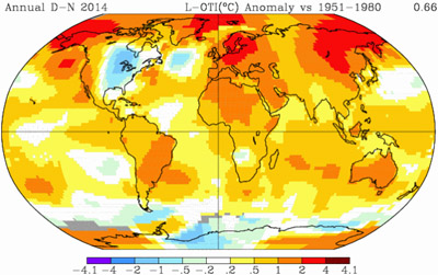 GISS Temperature anomaly showing Global Warming
